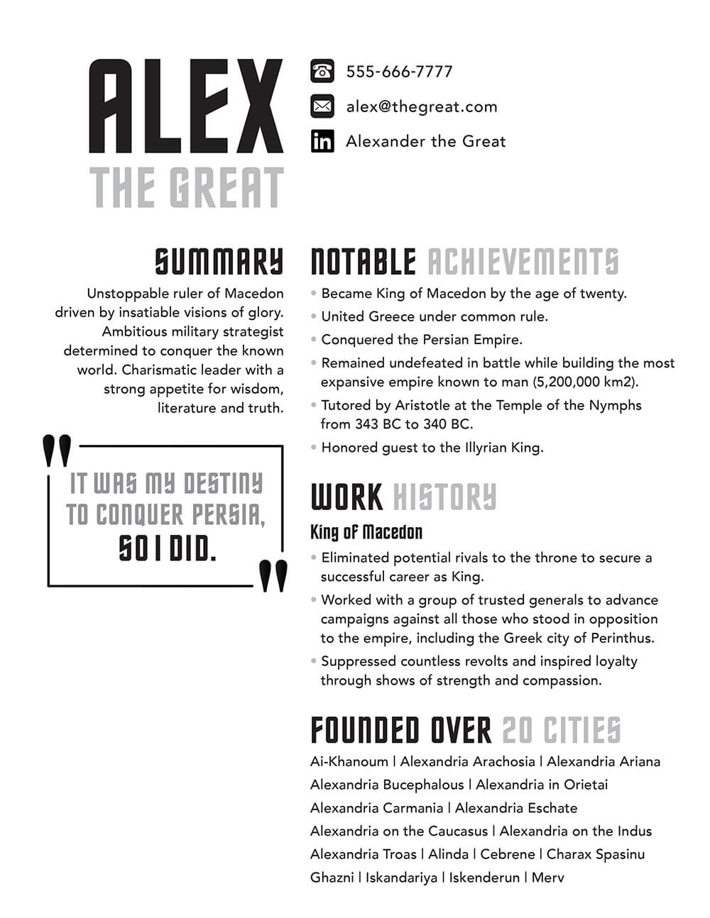 Alexander the Great's Resume
