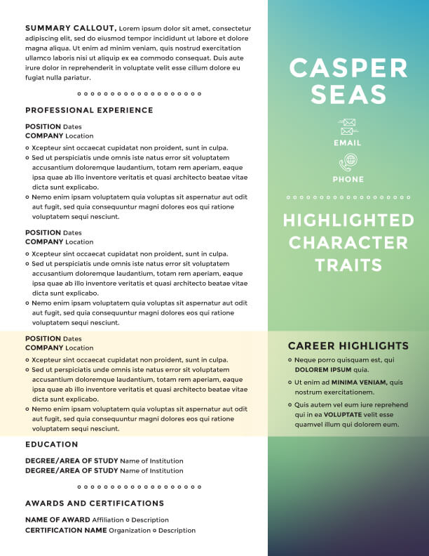 Beautiful ... Casper Seas Resume Template ...