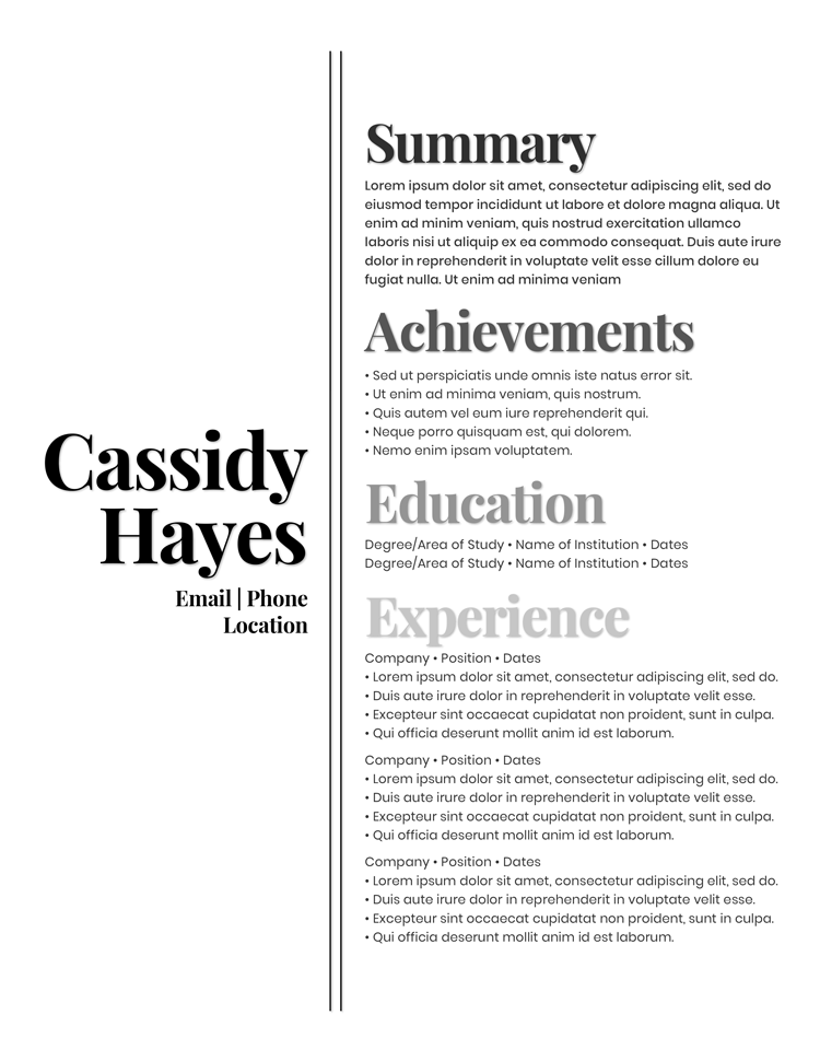 Cassidy Hayes Free Resume Template