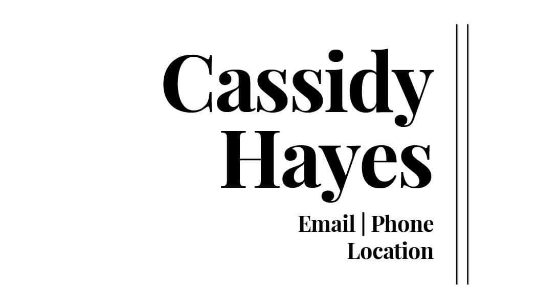 Cassidy Hayes Business Card Template Front