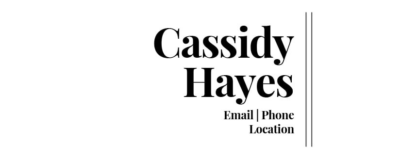 Cassidy Hayes Mini Business Card Template Front