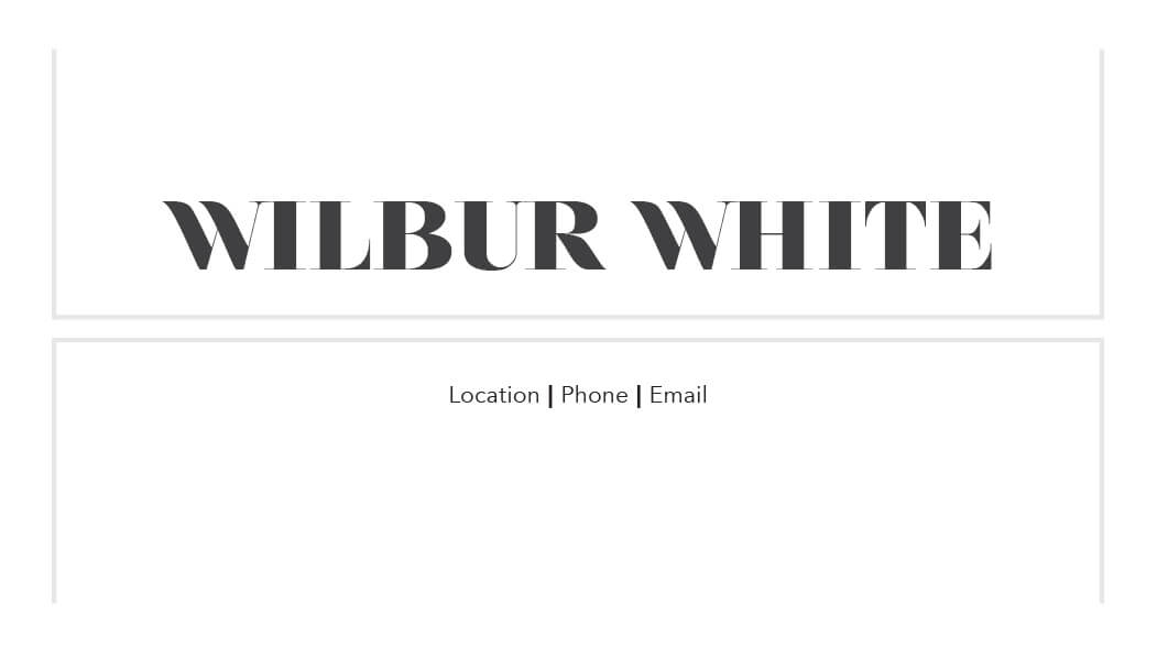 Wilbur White Business Card Template Back