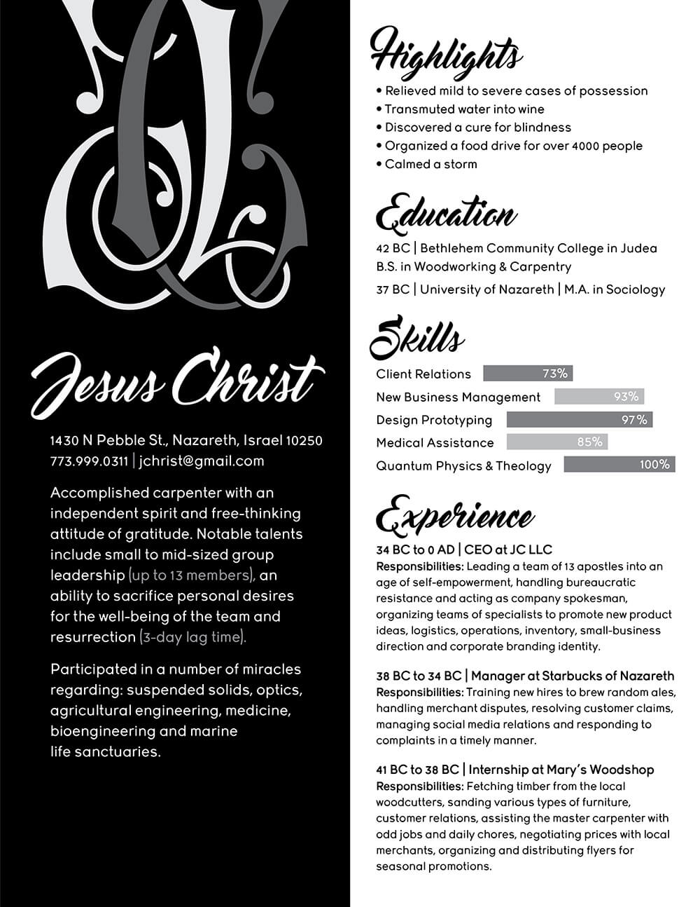 Jesus Christ's Resume