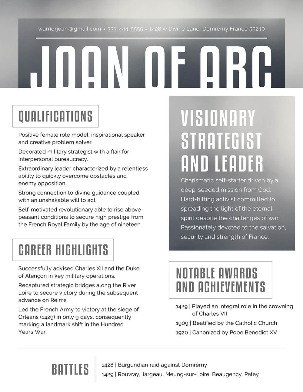 Joan of Arc's Resume