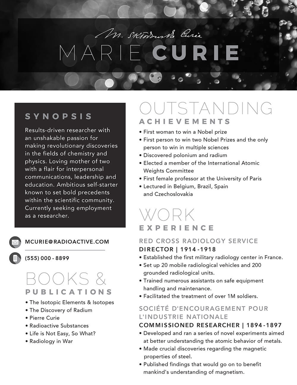 Marie Curie's Resume