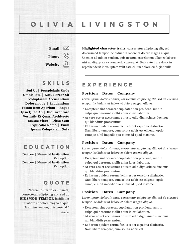 Olivia Livingston Resume Template
