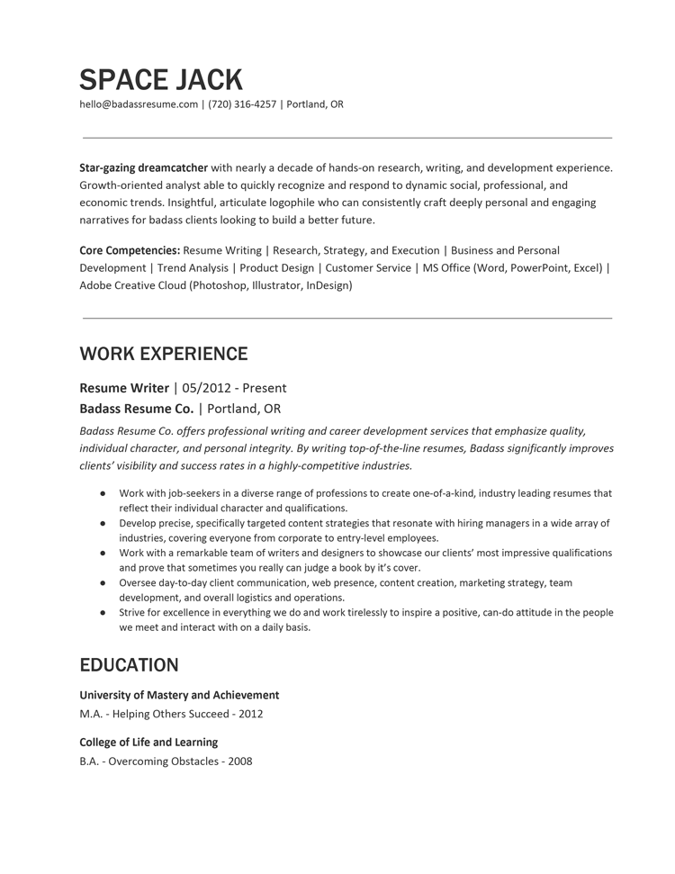 Space Jack Free Resume Template
