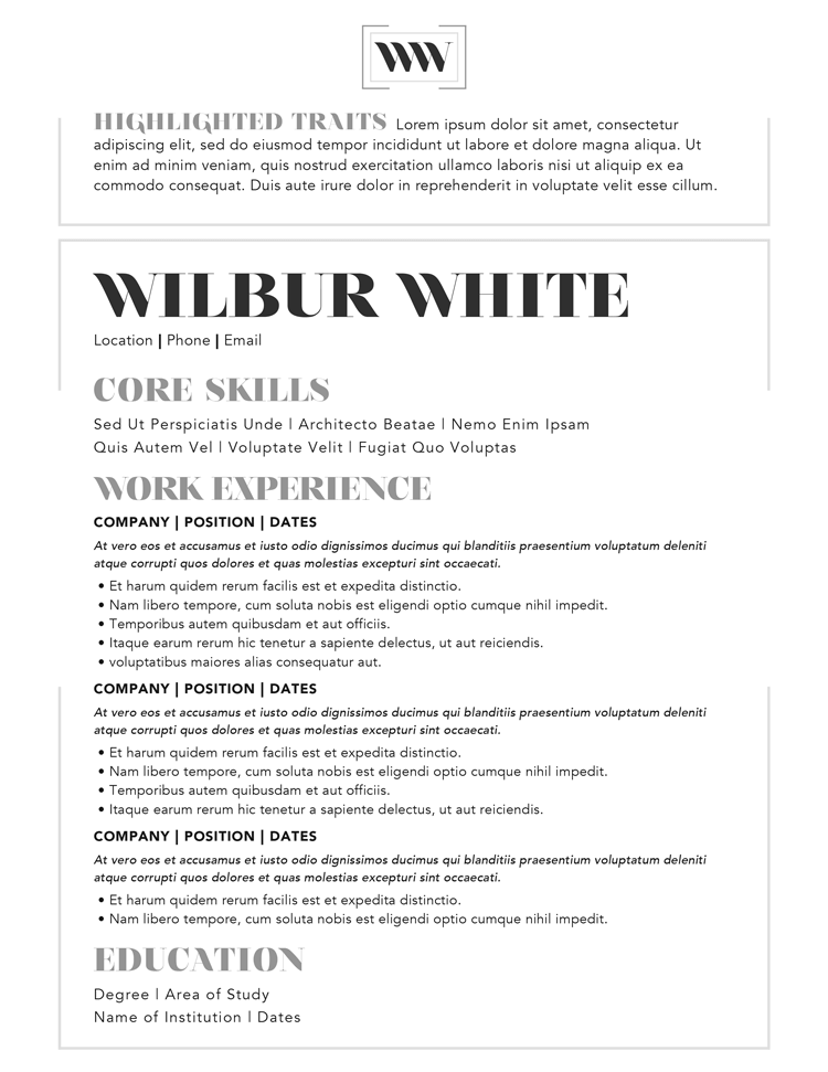 Wilbur White Resume Template